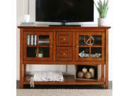 52 Wood Console Table TV Stand Rustic Brown