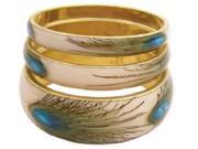 ZAD Set of 3 Peacock Feather Print Gold Metal Bangles in Varying Sizes