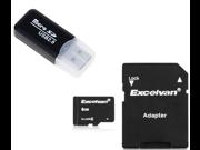 8GB TF Flash memory Card Class 6  with Adapter + Floureon USB 2.0 Micro SD TF Card Reader