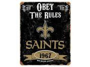 Party Animal Saints Vintage Metal Sign 1 Each Obey The Rules Print Message 11.5 Width x 14.5 Height Rectangular Shape Heavy Duty Embossed Lettering