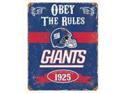 Party Animal Giants Vintage Metal Sign 1 Each Obey The Rules Print Message 11.5 Width x 14.5 Height Rectangular Shape Heavy Duty Embossed Lettering