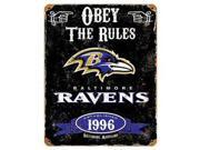 Party Animal Ravens Vintage Metal Sign 1 Each Obey The Rules Print Message 11.5 Width x 14.5 Height Rectangular Shape Heavy Duty Embossed Lettering