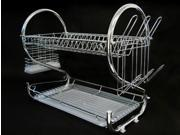 Chrome Kitchen Dish Cup Drying Rack Drainer Dryer Tray Cutlery Holder Organizer 9SIA3G21YW2676
