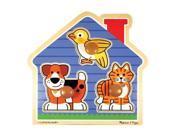 Melissa & Doug Deluxe Wooden House Pets Jumbo Knob Puzzle - 3-Piece