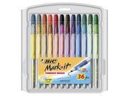 Bic Mark-It Permanent Markers - Fine Point - 36-Pack with Storage Case