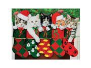 Ceaco 550 Piece Spirit of Christmas Jigsaw Puzzle - Cats in Stockings