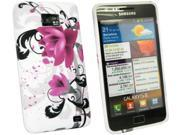 Kit Me Out US IMD TPU Gel Case + Screen Protector with MicroFibre Cleaning Cloth for Samsung Galaxy S2 i9100 - Purple Bloom