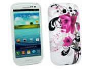 Kit Me Out USA TPU Gel Case + Screen Protector with MicroFibre Cleaning Cloth for Samsung Galaxy S3 III i9300 - Purple Bloom