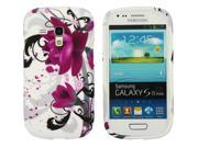 Kit Me Out US IMD TPU Gel Case + Screen Protector with MicroFibre Cleaning Cloth for Samsung Galaxy S3 Mini i8190 (NOT FOR S3) - Purple Bloom