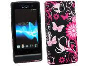Kit Me Out USA TPU Gel Case + Screen Protector with MicroFibre Cleaning Cloth for Sony Xperia U ST25i - Pink Garden