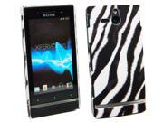 Kit Me Out USA Plastic Clip-on Case + Screen Protector with MicroFibre Cleaning Cloth for Sony Xperia U ST25i - Black, White Vertical HD Zebra