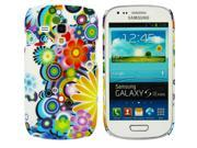 Kit Me Out USA Plastic Clip-on Case for Samsung Galaxy S3 Mini i8190 (NOT FOR S3) - Circles With Flowers