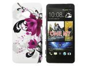 Kit Me Out US Hard Clip-on Case + Screen Protector with MicroFibre Cleaning Cloth for HTC One M7 - Purple Bloom