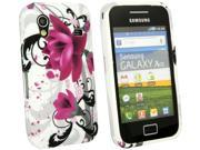 Kit Me Out USA TPU Gel Case + Screen Protector with MicroFibre Cleaning Cloth for Samsung Galaxy Ace S5830 - Purple Bloom
