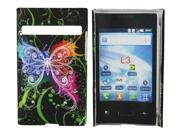 Kit Me Out US Hard Clip-on Case + Screen Protector with MicroFibre Cleaning Cloth for LG Optimus L3 E400 - Black Graffiti Butterfly