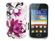 Kit Me Out US Hard Clip-on Case + Screen Protector with MicroFibre Cleaning Cloth for Samsung Galaxy Mini 2 S6500 - Purple Bloom