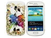 Kit Me Out USA Plastic Clip-on Case + Screen Protector with MicroFibre Cleaning Cloth for Samsung Galaxy S3 Mini i8190 (NOT FOR S3) - Coloured Butterfly