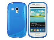 Kit Me Out USA TPU Gel Case + Screen Protector with MicroFibre Cleaning Cloth for Samsung Galaxy S3 Mini i8190 (NOT FOR S3) - Blue S Wave Pattern
