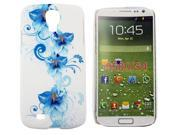 Kit Me Out USA Hard Clip-on Case + Screen Protector with MicroFibre Cleaning Cloth for Samsung Galaxy S4 i9500 - Blue Floral