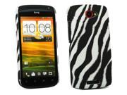 Kit Me Out USA Plastic Clip-on Case + Screen Protector with MicroFibre Cleaning Cloth for HTC One S - Vertical HD Black/White Zebra