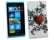 Kit Me Out USA Plastic Clip-on Case + Screen Protector with MicroFibre Cleaning Cloth for Nokia Lumia 900 - Tattoo Heart