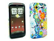 Kit Me Out USA Plastic Clip-on Case + Screen Protector with MicroFibre Cleaning Cloth for HTC Sensation / Sensation XE - Circles With Flowers