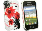 Kit Me Out US IMD TPU Gel Case + Screen Protector with MicroFibre Cleaning Cloth for Samsung Galaxy Ace S5830 - White Oriental Flowers