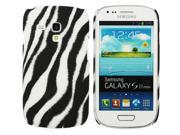 Kit Me Out USA Plastic Clip-on Case + Screen Protector with MicroFibre Cleaning Cloth for Samsung Galaxy S3 Mini i8190 (NOT FOR S3) - Vertical Black/White Zebra
