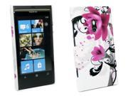 Kit Me Out USA Plastic Clip-on Case + Screen Protector with MicroFibre Cleaning Cloth for Nokia Lumia 800 - Purple Bloom