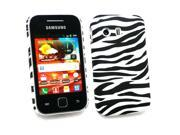 Kit Me Out USA Plastic Clip-on Case for Samsung S5360 Galaxy Y - Black/White Zebra