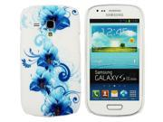 Kit Me Out USA Plastic Clip-on Case for Samsung Galaxy S3 Mini i8190 (NOT FOR S3) - Floral Blue
