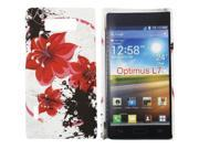 Kit Me Out USA Hard Clip-on Case + Screen Protector with MicroFibre Cleaning Cloth for LG Optimus L7 P700 - Oriental Flowers