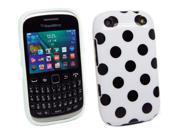 Kit Me Out USA IMD TPU Gel Case for BlackBerry Curve 9320 - White, Black Polka Dots