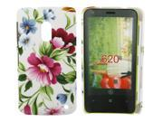 Kit Me Out USA Hard Clip-on Case + Screen Protector with MicroFibre Cleaning Cloth for Nokia Lumia 620 - Vintage Flowers