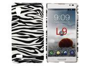 Kit Me Out US Hard Clip-on Case + Screen Protector with MicroFibre Cleaning Cloth for LG Optimus L9 P760 - Black / White Zebra