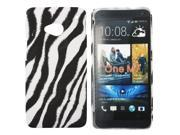 Kit Me Out US Hard Clip-on Case + Screen Protector with MicroFibre Cleaning Cloth for HTC One M7 - Black / White Vertical Zebra