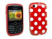 Kit Me Out US IMD TPU Gel Case + Screen Protector with MicroFibre Cleaning Cloth for BlackBerry 8520 8530 And 9300 9330 3G - Red, White Polka Dots
