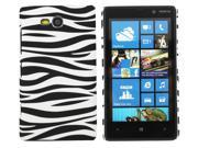 Kit Me Out USA Hard Clip-on Case + Screen Protector with MicroFibre Cleaning Cloth for Nokia Lumia 820 - Black / White Zebra