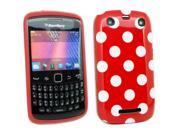 Kit Me Out USA IMD TPU Gel Case + Screen Protector with MicroFibre Cleaning Cloth for BlackBerry 9350 9360 9370 3G Curve - Red, White Polka Dots