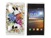 Kit Me Out USA Hard Clip-on Case + Screen Protector with MicroFibre Cleaning Cloth for LG Optimus L5 E610 - Coloured Butterfly