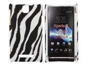 Kit Me Out US Hard Clip-on Case + Screen Protector with MicroFibre Cleaning Cloth for Sony Xperia E - Black / White Vertical Zebra