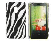 Kit Me Out USA Hard Clip-on Case + Screen Protector with MicroFibre Cleaning Cloth for Nokia Lumia 620 - Black / White Vertical Zebra