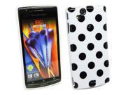 Kit Me Out US IMD TPU Gel Case for Sony Ericsson Xperia Arc / Arc S X12 - White, Black Polka Dots