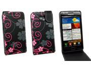 Kit Me Out US PU Leather Flip Case + Screen Protector with MicroFibre Cleaning Cloth for Samsung Galaxy S2 i9100 - Black / Pink Floral Flowers