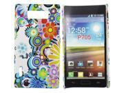 Kit Me Out USA Hard Clip-on Case + Screen Protector with MicroFibre Cleaning Cloth for LG Optimus L7 P700 - Multicoloured Circles With Flowers