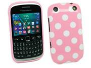 Kit Me Out USA IMD TPU Gel Case + Screen Protector with MicroFibre Cleaning Cloth for BlackBerry Curve 9320 - Pink, White Polka Dots