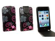 Kit Me Out US PU Leather Flip Case + Screen Protector with MicroFibre Cleaning Cloth for Apple iPod Touch 4 (4th Generation) - Black / Pink Floral Flowers