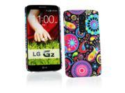 Kit Me Out USA Hard Clip-on Case + Screen Protector with MicroFibre Cleaning Cloth for LG G2 D802 - Multicoloured / Black Retro Mayhem