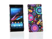 Kit Me Out US Hard Clip-on Case + Screen Protector with MicroFibre Cleaning Cloth for Sony Xperia Z1 - Multicoloured / Black Retro Mayhem