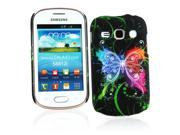 Kit Me Out US Hard Clip-on Case + Screen Protector with MicroFibre Cleaning Cloth for Samsung Galaxy Fame S6810 - Black Graffiti Butterfly